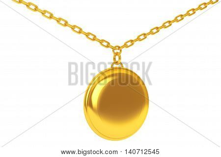 Golden Medallion on chain over white background. 3d Rendering