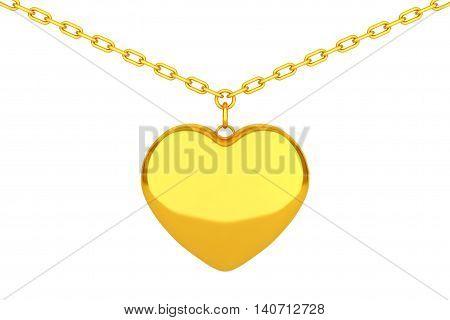 Golden Heart Medallion on chain over white background. 3d Rendering