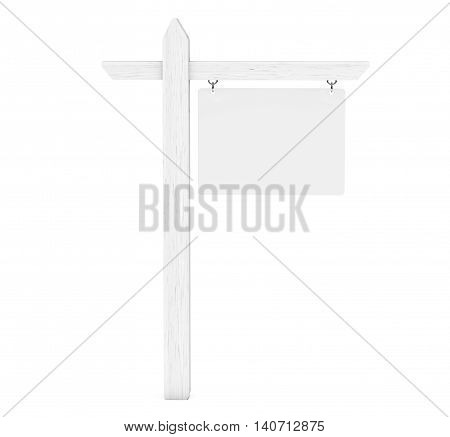 Real Estate House for Sale Blank Sign on a white background. 3d Rendering