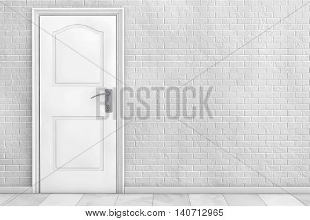 White Wooden Door in front of Brick Wall. 3d Rendering