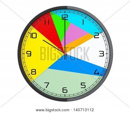 Round Multicolour Modern Office Clock on a white background. 3d Rendering