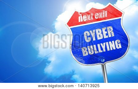 Cyber bullying background, 3D rendering, blue street sign