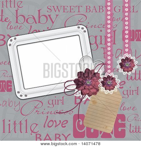 Photo Frame For A Girl With A Flowers, Heart, Lace
