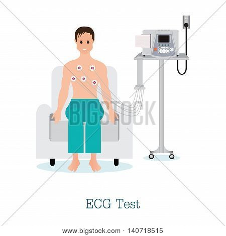 ECG Test or The Cardiac Test with patient healthy and medical flat design vector illustration.