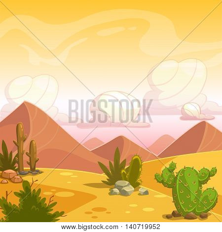 Cartoon desert landscape with cactuses, stone, sand dunes and cloudy sky. Square vector outdoor illustration. Background for game design.