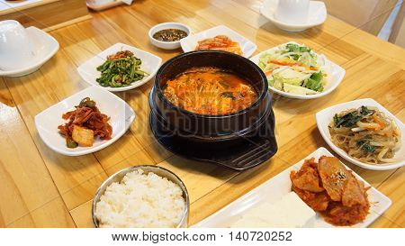 Taste of tofu spicy tofu eolkeun in black stew