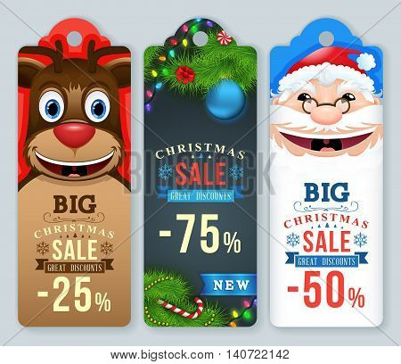 Christmas Sale Tags. Christmas labels with Santa and reindeer.