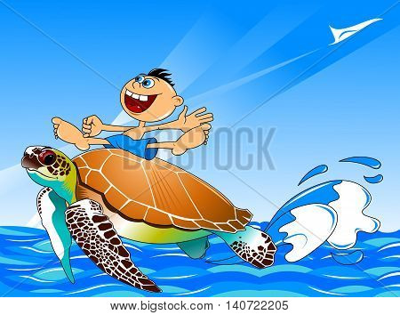 large sea turtle swims through the sea with the boy on the shell