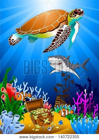 great Tortoise and pirate guarding a treasure vector
