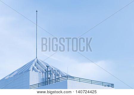 lightning rod on the building sky background