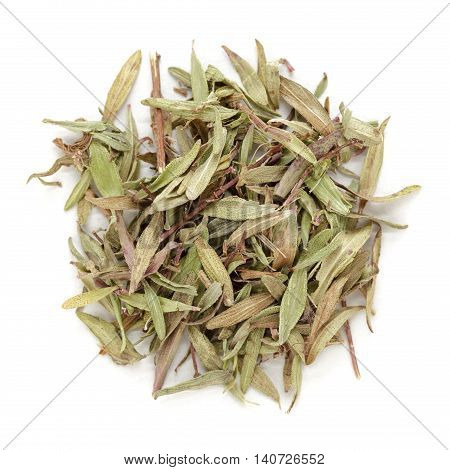 Organic dry (Thymus vulgaris) leaves. Isolated on white background. Macro close up. Top view.