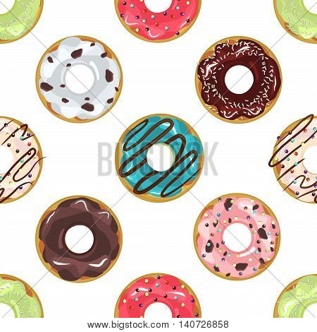 Cute donuts with colorful glazing seamless pattern. Seamless background of colorful donuts glazed. donut Vector sweet food texture cake dessert sugar cream pastry chocolate dessert bakery.