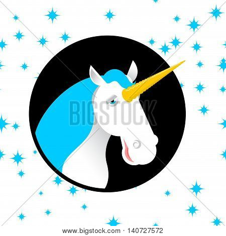 Unicorn Fabulous Beast With Horn. Magic Animal With Round. Fantastic Brute