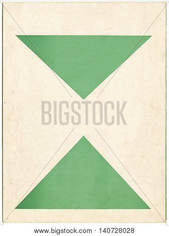 Vintage paper with printed green triangles