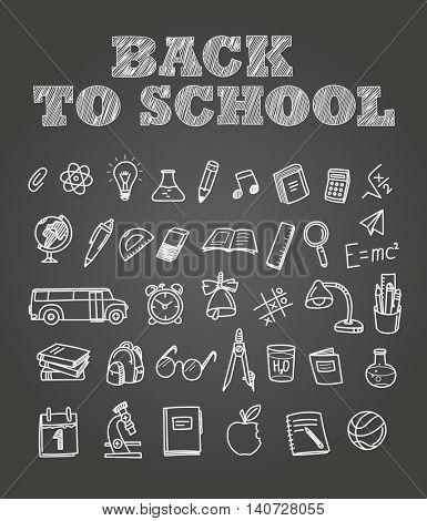 Back to scholl chalk doodles. Education elements clip-art for design