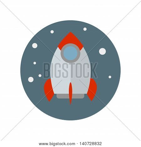 Flat rocket icon. Space rocket launch. Start up concept flat style. Rocket ship in flat style. Vector flying rocket technology. Space travel to the moon. Space rocket launch. Development process.