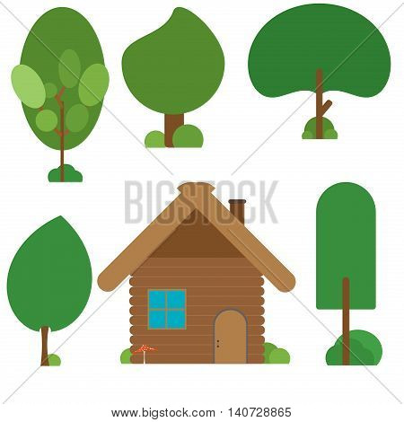 Wooden hut house in the forest illustration. Green landscape tree wood architecture house forest. Cartoon trees green nature and summer forest green trees collection house forest.