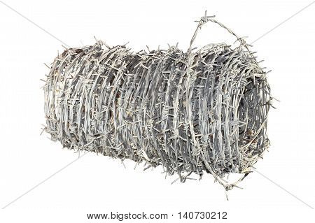 large roll of barbed wire isolated over white background