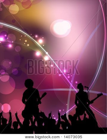 singers and the crowd of fans - vector concert poster