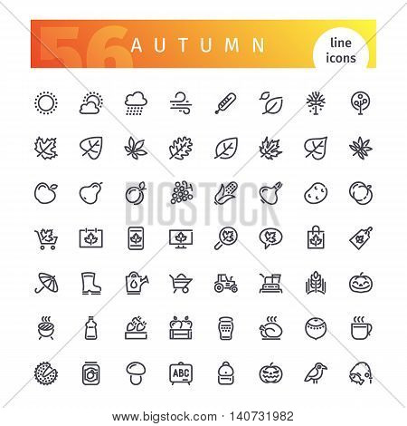 Set of 56 autumn line icons suitable for gui, web, infographics and apps. Isolated on white background. Clipping paths included.