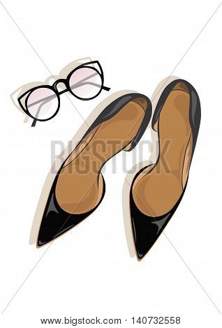 Black High Heels stiletto shoes Vector illustration