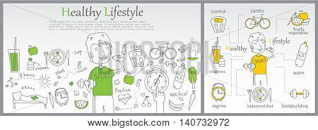 Doodle line design of web banner templates with outline icons of Healthy lifestyle.Healthy lifestyle concept for website or infographics.