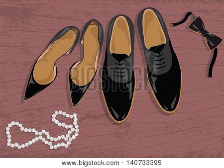 Stiletto and black leather men's shoes. Black elegant shoes Vector