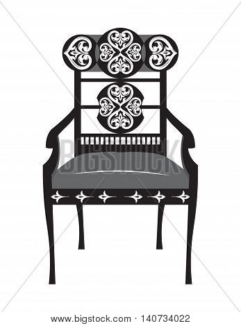 Classic biedermeier style furniture. Chair throne with rich ornaments. English carved ornaments furniture. Vector Victorian exquisite Style furniture. Vector sketch