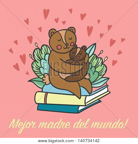 Postcard with cute bears and spanish text