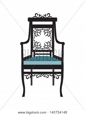 Vintage Chair furniture Vector. Rich carved ornaments furniture. Vector Victorian Style furniture. Vector sketch