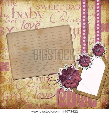 Greeting Card  For A Girl With A Flowers,  Lace, Tage