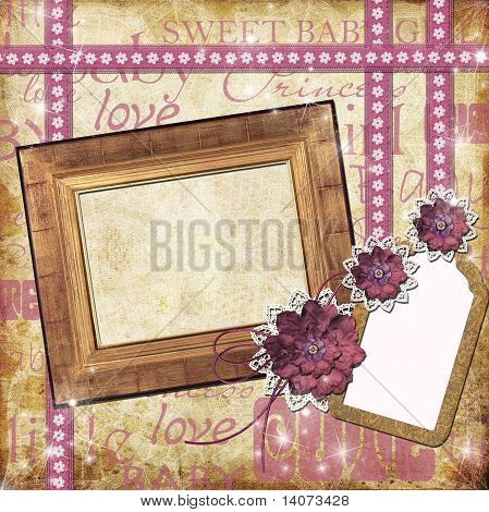 Photo Frame For A Girl With A Flowers,  Lace, Tage