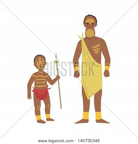 Man And Boy From African Native Tribe Simplified Cartoon Style Flat Vector Illustration Isolated On White Background