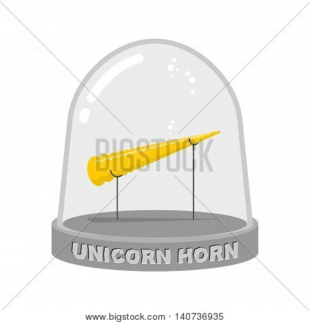 Unicorn Horn In Glass Bell. Fairy Rainbow Artifact For Study. Scientific Experiment Of Mythical Anim
