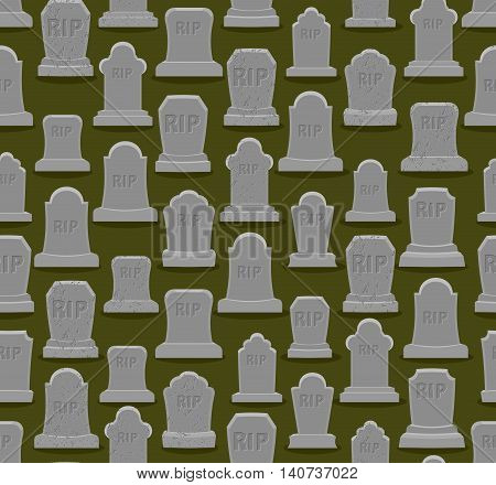 Rip Seamless Pattern. Old Gravestone Ornament. Cemetery Background. Tomb Texture. Grave Ancient. Tom