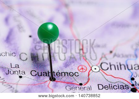 Cuahtemoc pinned on a map of Mexico
