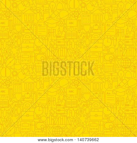 Line Learning Yellow Tile Pattern. Vector Illustration of School and Education Seamless Background.