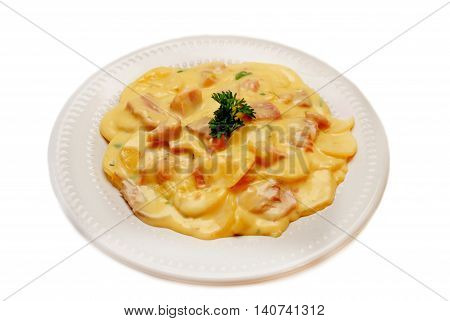 Baked Au Gratin Potato Casserole with Ham
