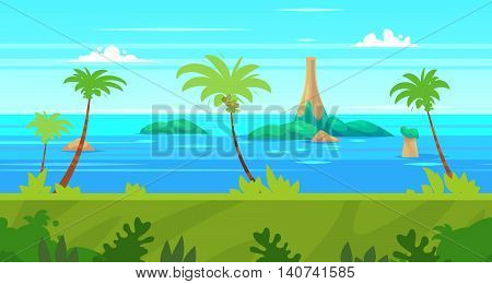 Seamless background for games apps or mobile development. Cartoon nature landscape with sea or ocean and palms. Vector illustration for design graphics print or book . Stock illustration.