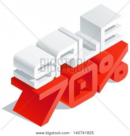 Vector promotion poster with 3D volume letters. Slim three dimensional isometric text Sale 70 percent