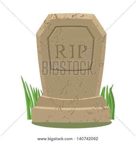 Old Gravestone With Cracks.tomb On White Background. Ancient Rip. Granite Plate With Cracks. Grave I