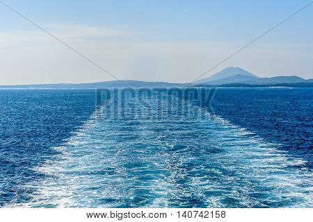 Wake Water Trail From A Ferry Ship In Croatia