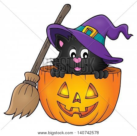 Halloween cat theme image 1 - eps10 vector illustration.