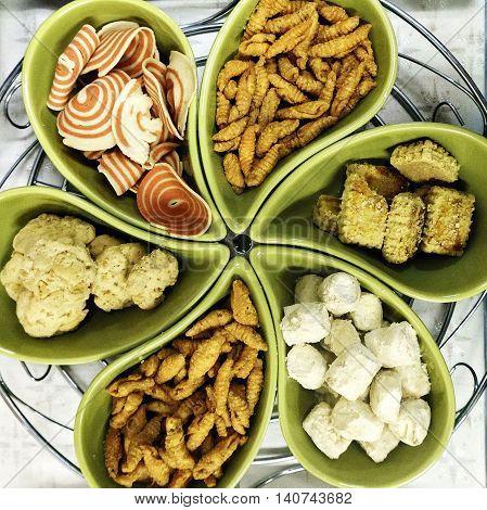 Colorful sweet cookies for Hari Raya Aidilfitri in Malaysia