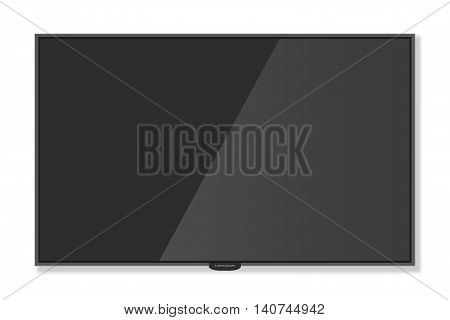 Plasma Tv Hanging On The Wall With Shadow White Background, Mockup Style