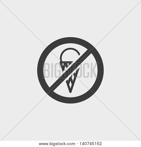 No icecream icon in a flat design in black color. Vector illustration eps10