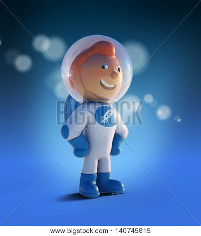 3d character astronaut in a spacesuit, funny boy
