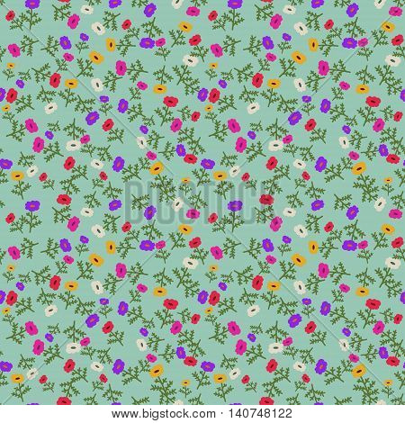 Seamless pattern with decorative multicolored tiny flowers