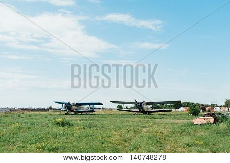 Airplanes Standing On Green Grass. Ukraine, 2016