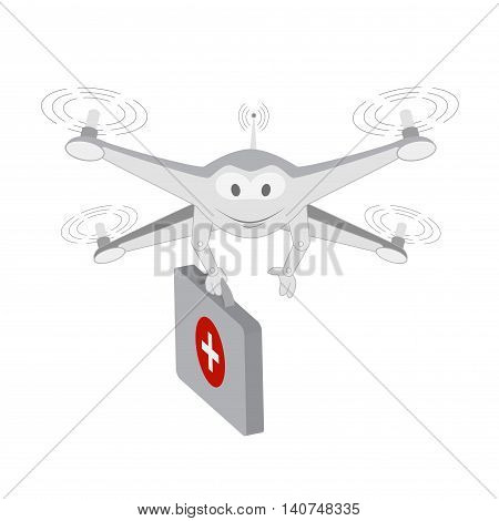 Good drone. Ambulance services. Series cartoon Drones